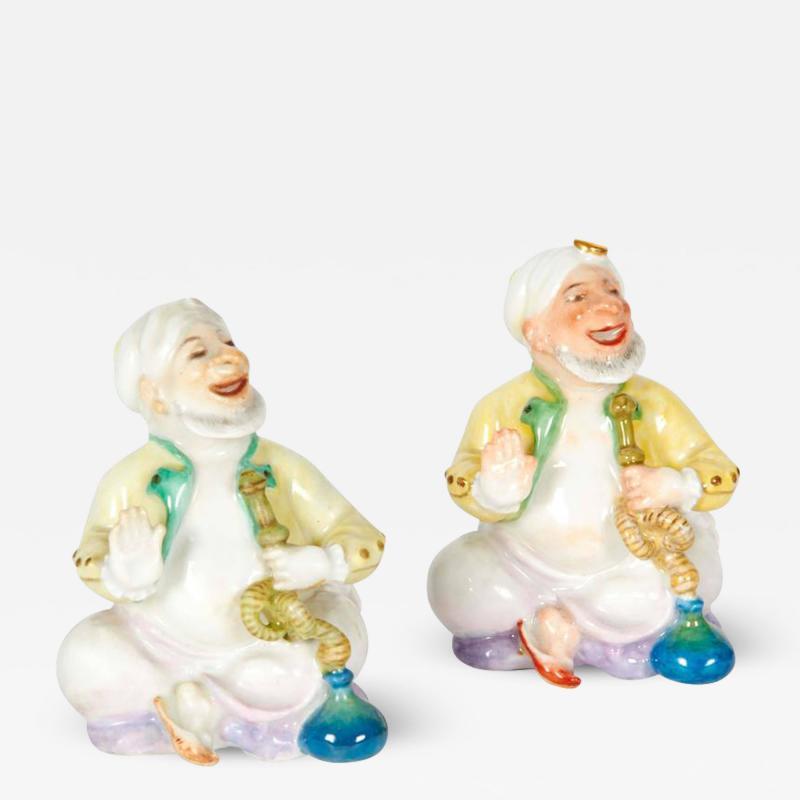 Pair of Miniature Meissen Porcelain Figurines Turks Smoking Hookah