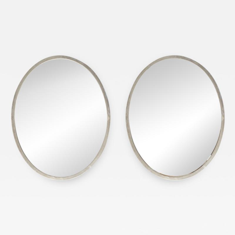 Pair of Minimalist Swedish Mirrors with Nickel Frames