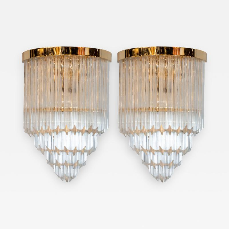 Pair of Modernist Brass Handblown Murano Glass 4 Tier Quadretti Sconces