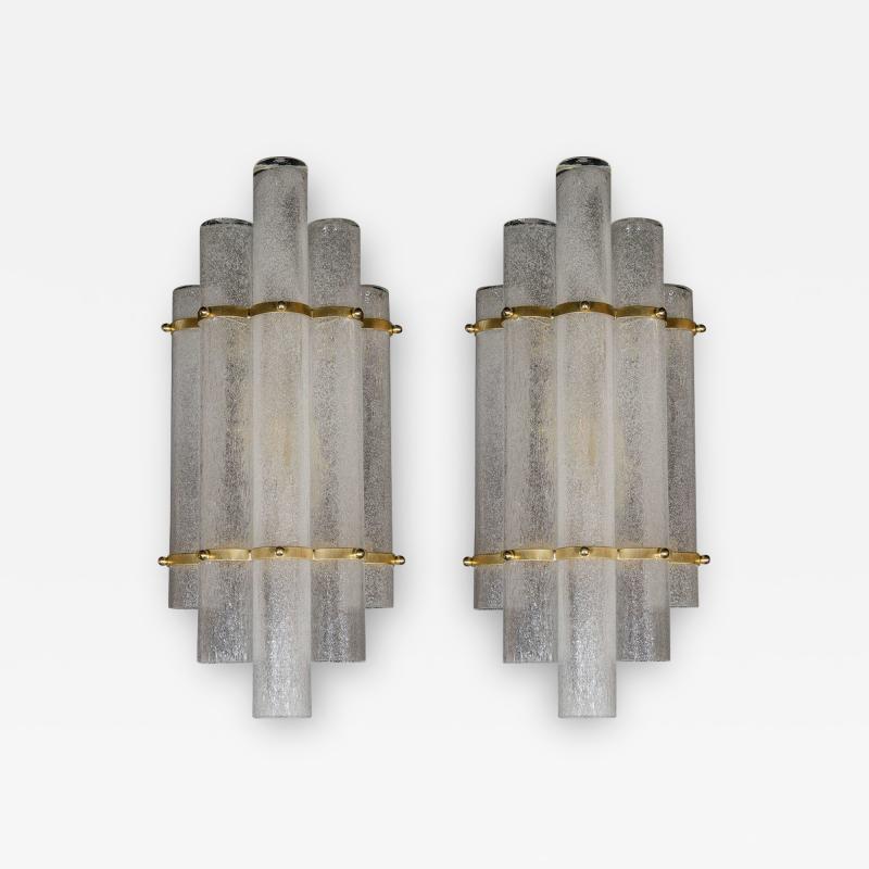Pair of Modernist Handblown Murano Glass Pulegoso Sconces in Brushed Brass
