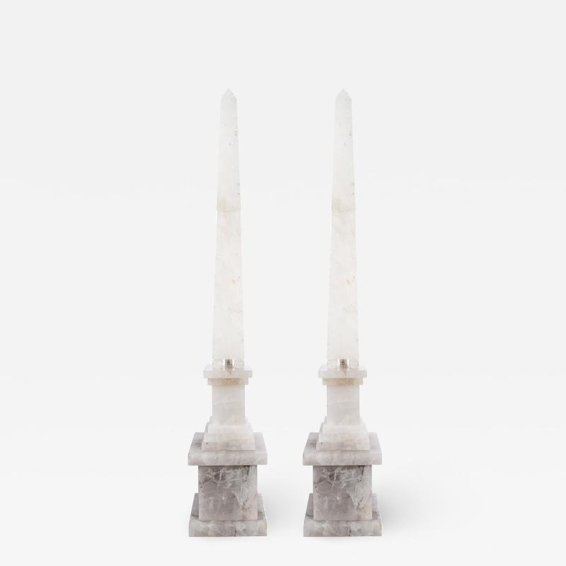 Pair of Modernist Monumental Faceted Hand Carved Rock Crystal Obelisks