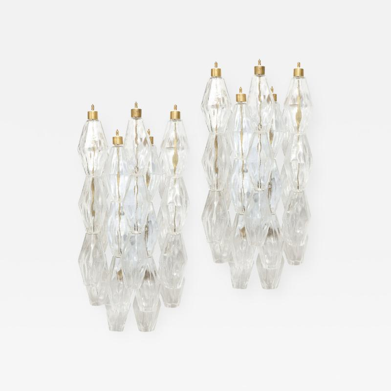 Pair of Modernist Murano Translucent Polyhedral Sconces with Brass Fittings