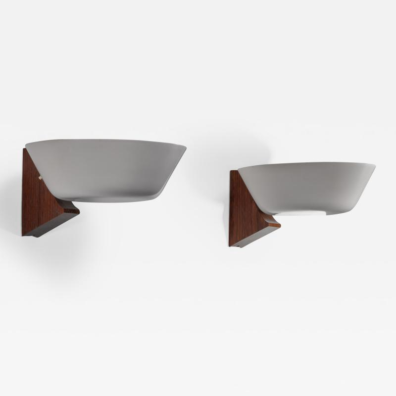 Pair of Modernist wood and metal wall lamps