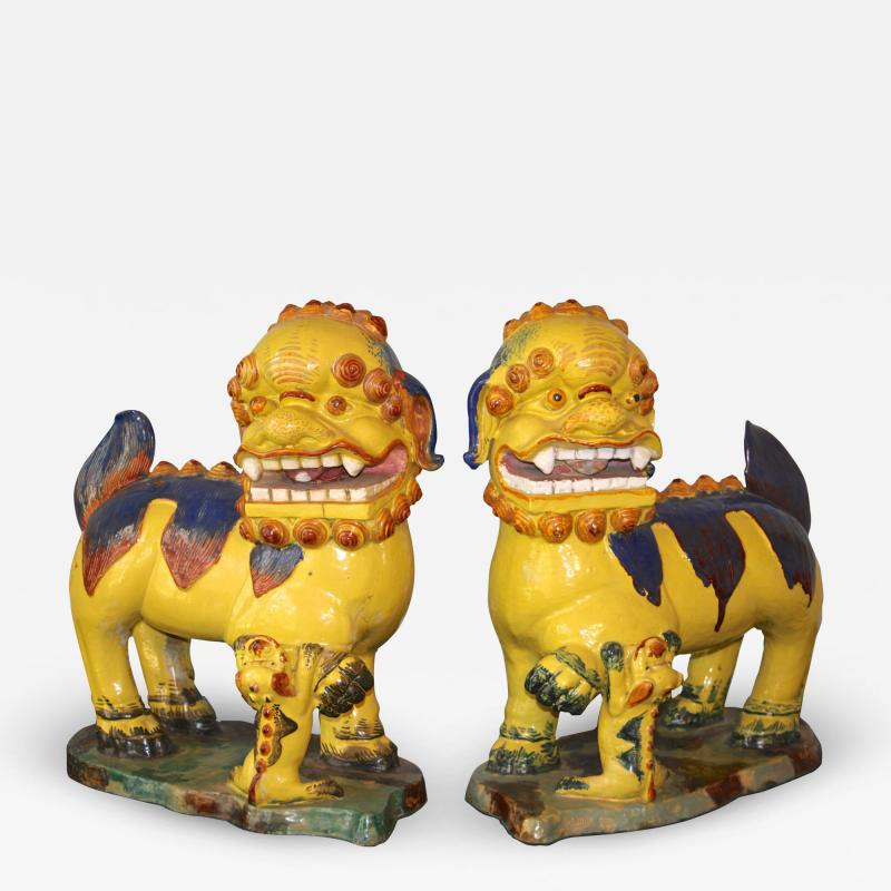Pair of Monumental Chinese Buddhist Lionesses