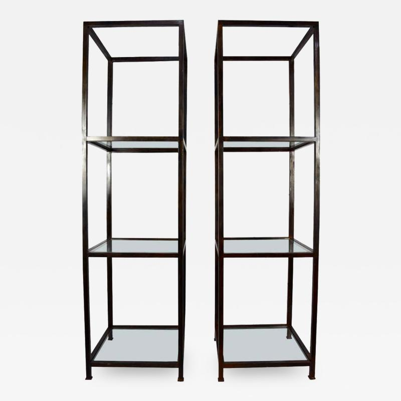 Pair of Monumental Custom Etageres in Glass and Iron