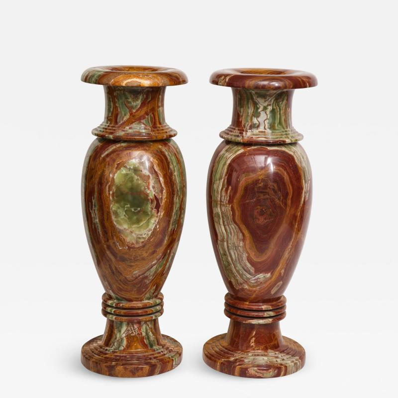 Pair of Monumental Onyx Urns