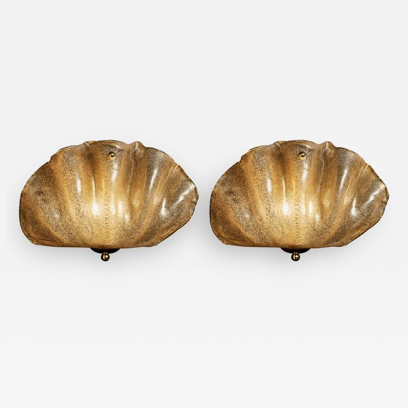 Pair of Murano Glass Shell Wall Sconces
