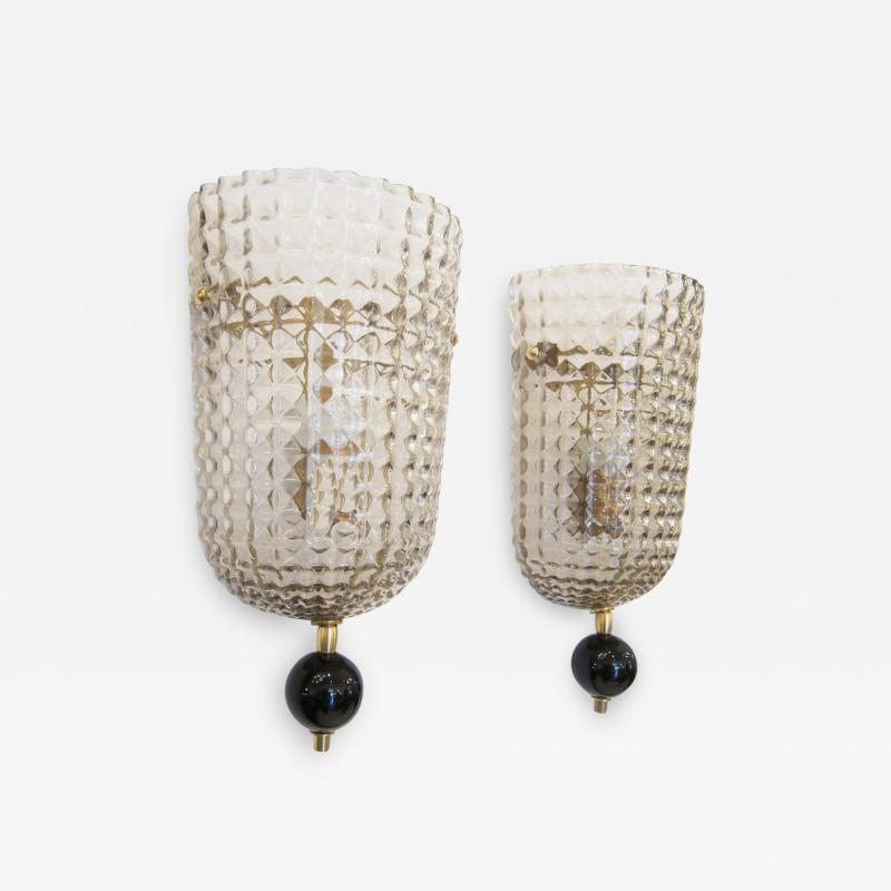 Pair of Murano Glass Wall Sconces Art Deco Style
