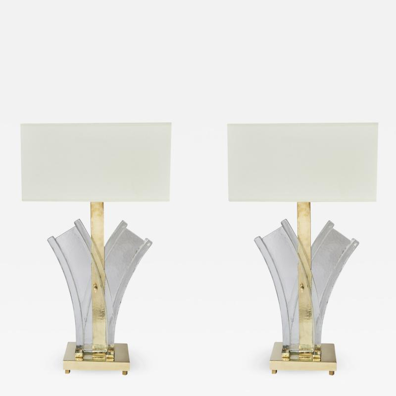 Pair of Murano Glass and Brass Table Lamps