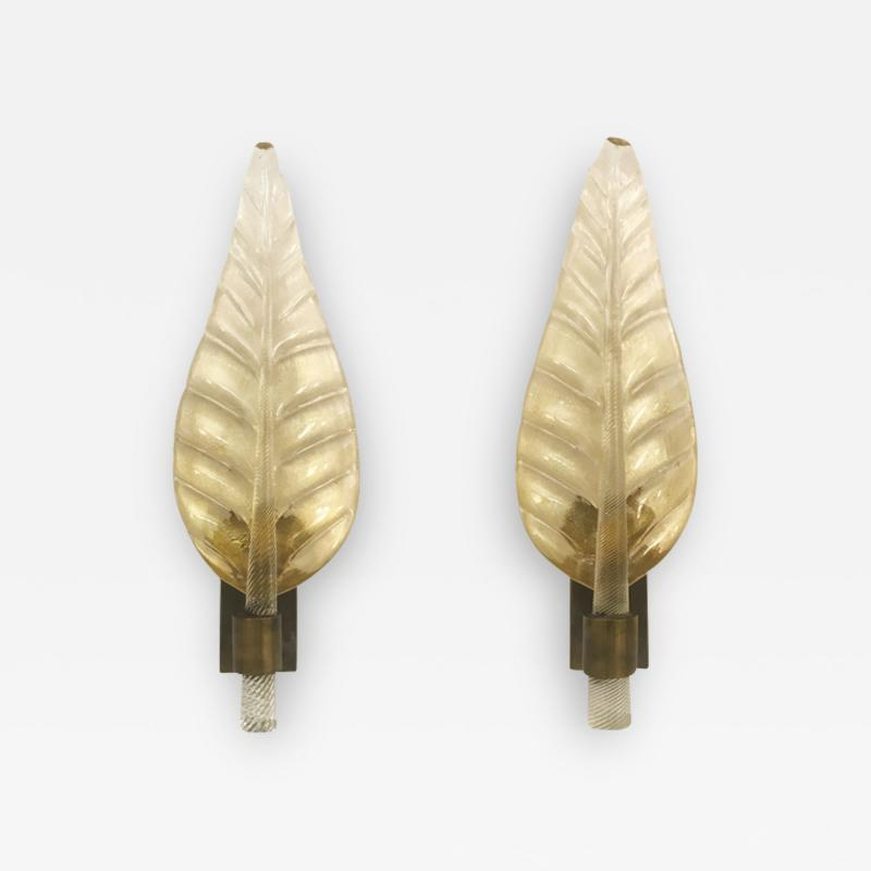 Pair of Murano Leaf Wall Sconces