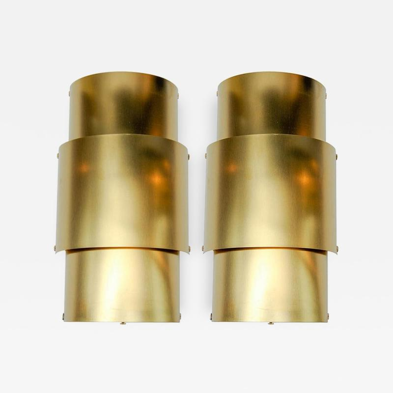 Pair of Natural Brass Wall Sconces
