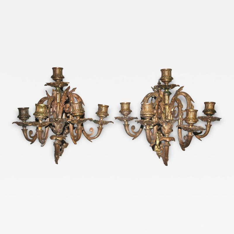 Pair of Neoclassical Revival Five candle Girandoles Astor Provenance
