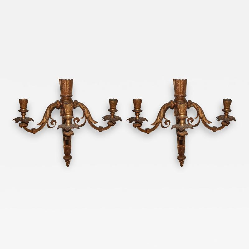 Pair of Neoclassical Revival Three candle Sconces Astor Provenance