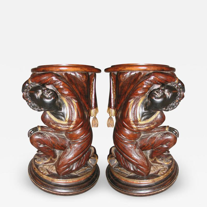 Pair of Nubian plant stands or stools XIXth century