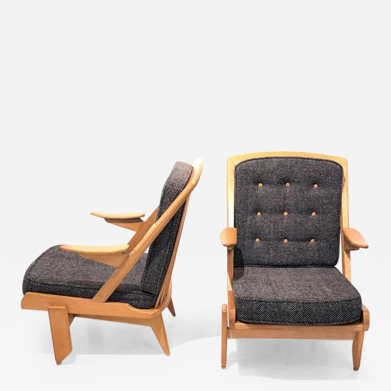 Pair of Oak Armchirs by Guillerme et Chambron