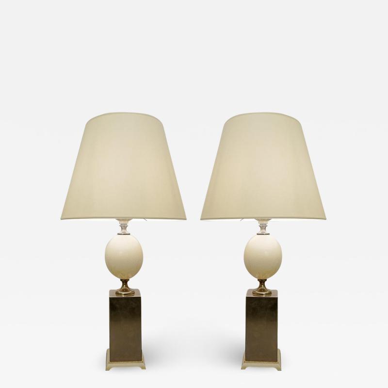 Pair of Ostrich Egg Lamps Maison Jansen Style