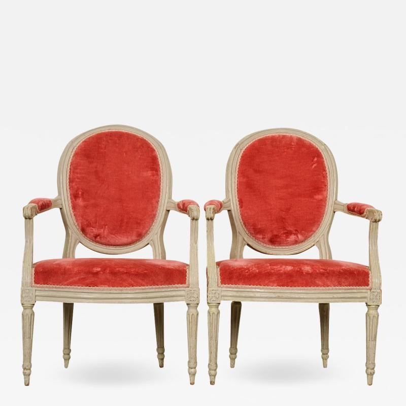Pair of Painted French 19th Century Louis XVI Style Fauteuils