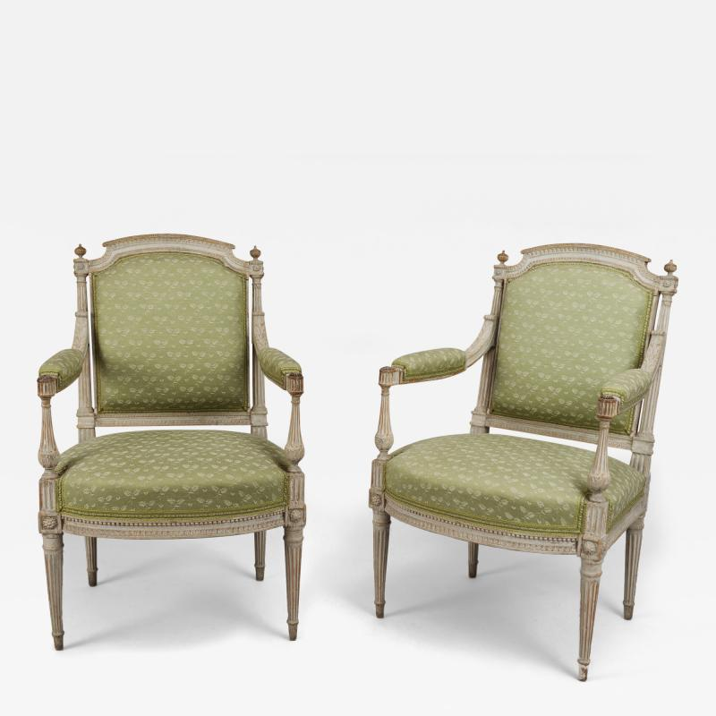 Pair of Painted Louis XVI Armchairs Fauteuils
