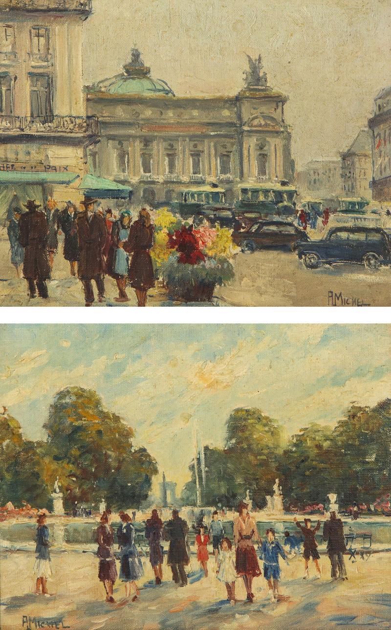 Pair of Paintings Paris Streets