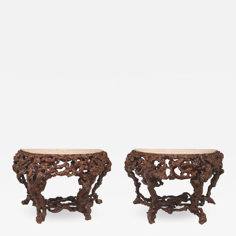 Pair of Pair of Chinese Rustic Root Console Tables