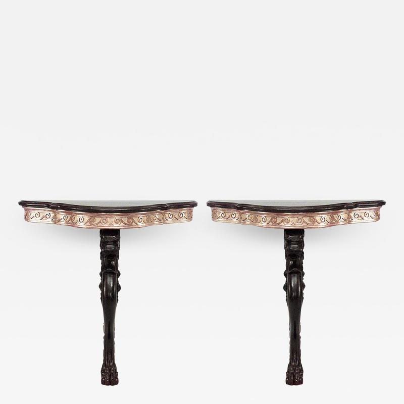 Pair of Pair of English Regency Lion Leg Console Table