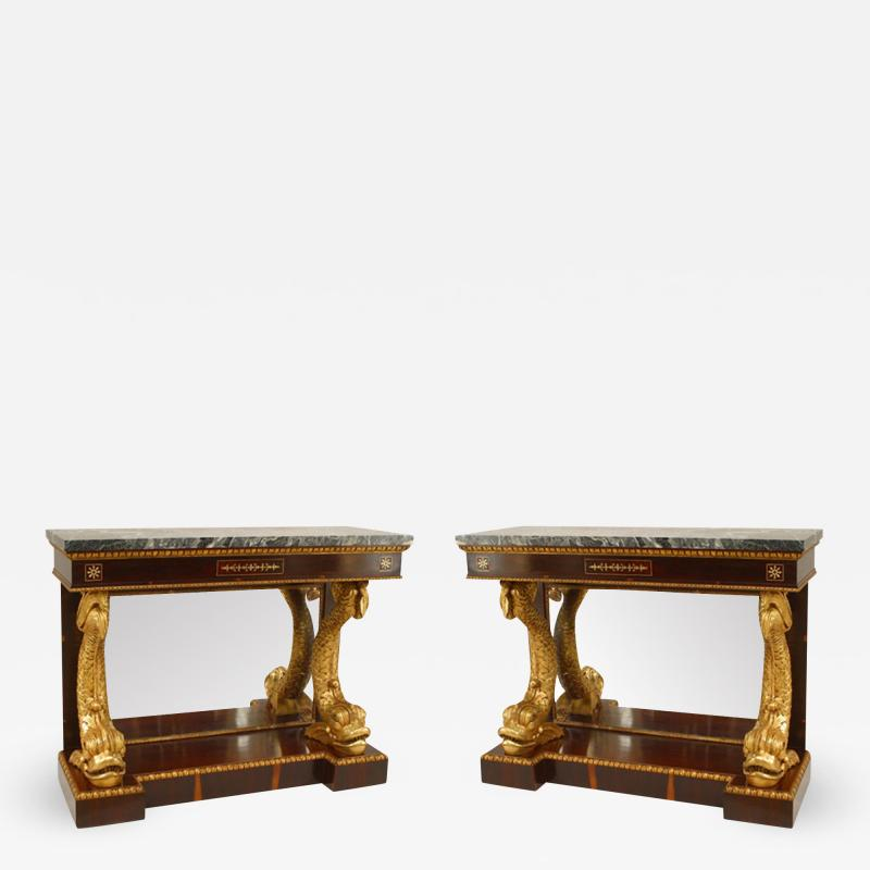 Pair of Pair of English Regency Rosewood Gilt Dolphin Console Table