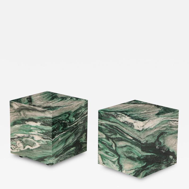Pair of Polar Verde Cubes Side Tables