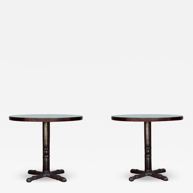 Pair of Polished Steel and Antiviral Raw Copper Top Gueridon Side Tables