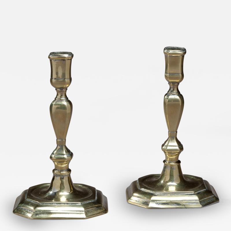 Pair of Queen Anne Octagonal Base Brass Candlesticks