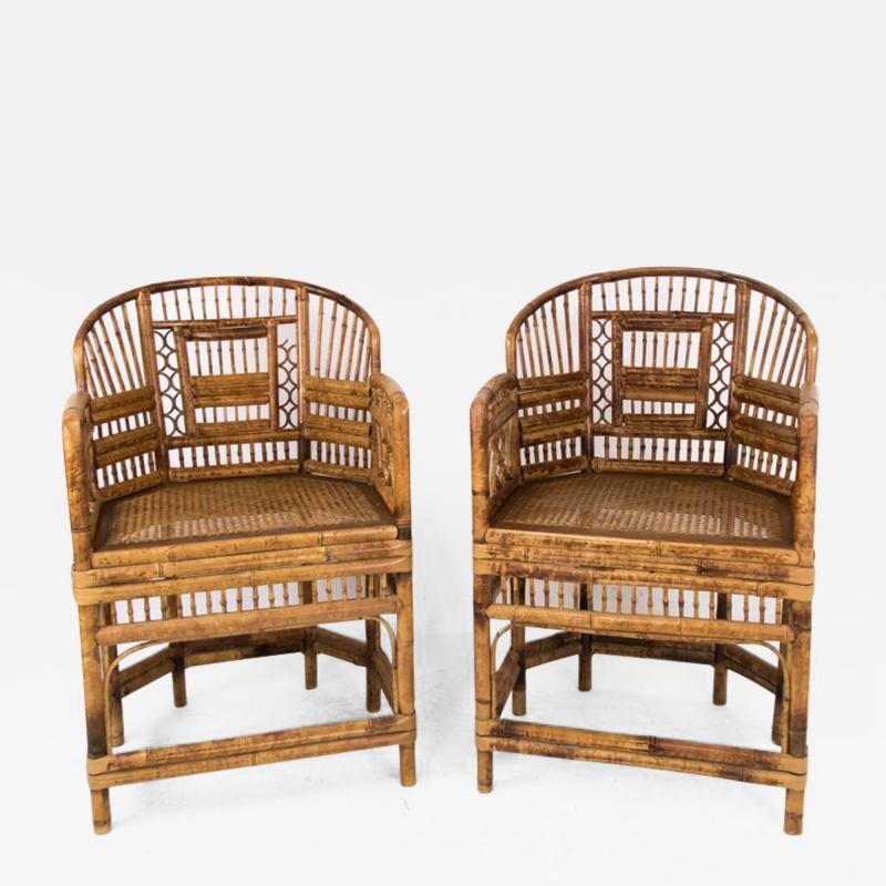 Pair of Rattan Chinoiserie Armchairs