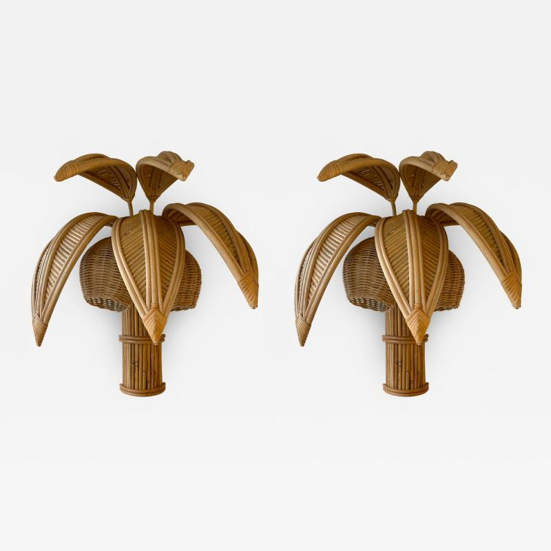 Pair of Rattan Palm Tree Sconces France 1980s