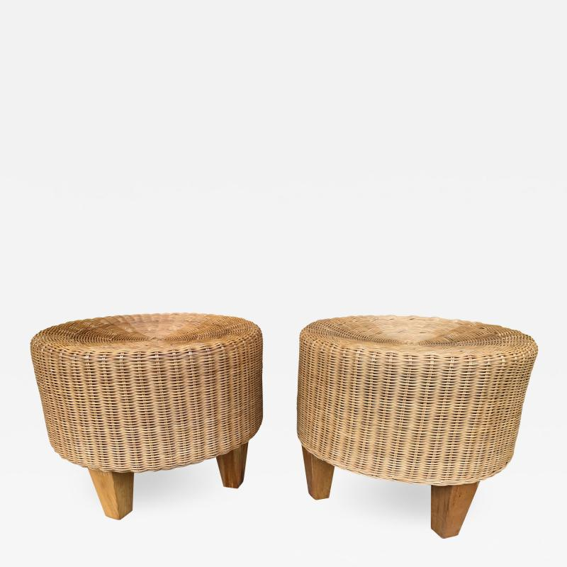 Pair of Rattan and Wood Poufs Stools Italy 1980s