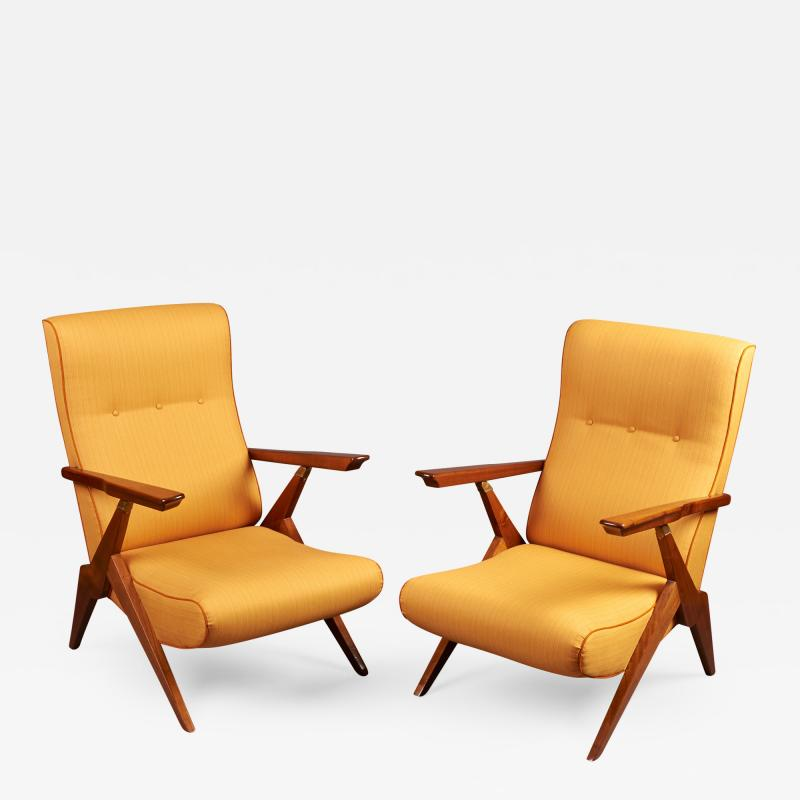 Pair of Reclining Armchairs Italy 1950s