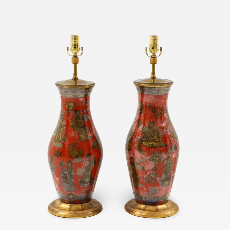 Pair of Red Chinoiserie Table Lamps