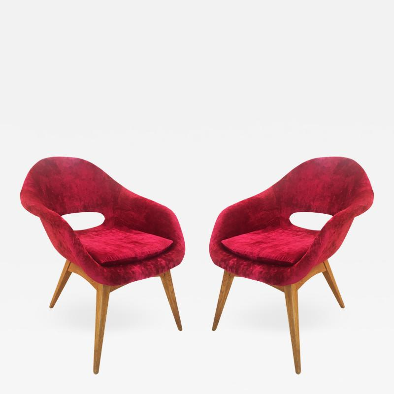 Pair of Red Velvet Armchairs in the Style of RIMA