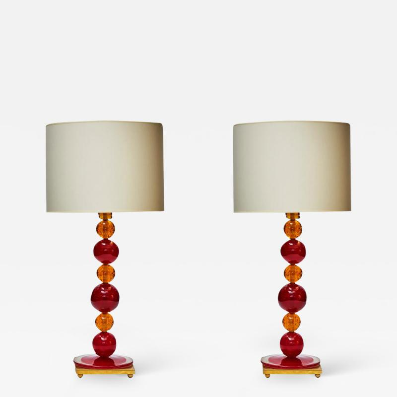 Pair of Red and Orange Murano Glass Balls Table Lamps