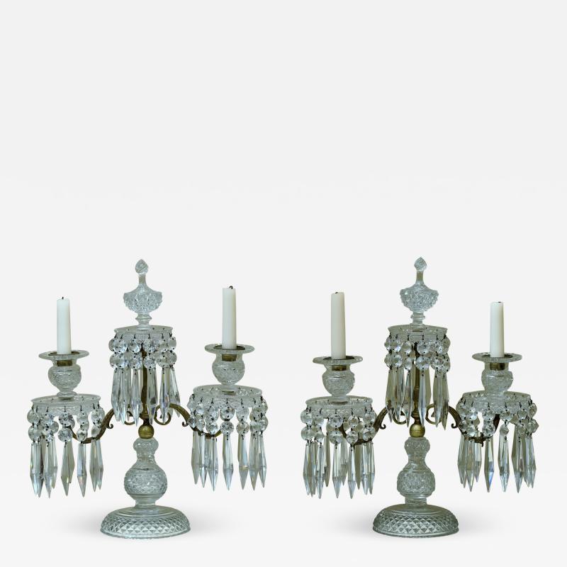 Pair of Regency 2 Light Crystal Candelabra London Circa 1800