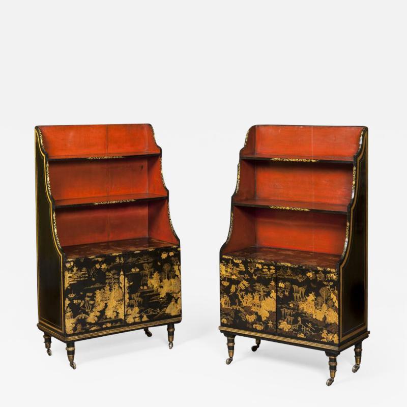 Pair of Regency Laquer Open Bookshelves Bookcases