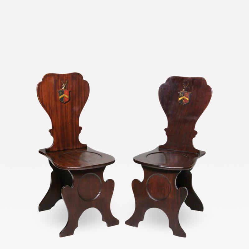 Pair of Regency Mahogany Armorial Hall Chairs