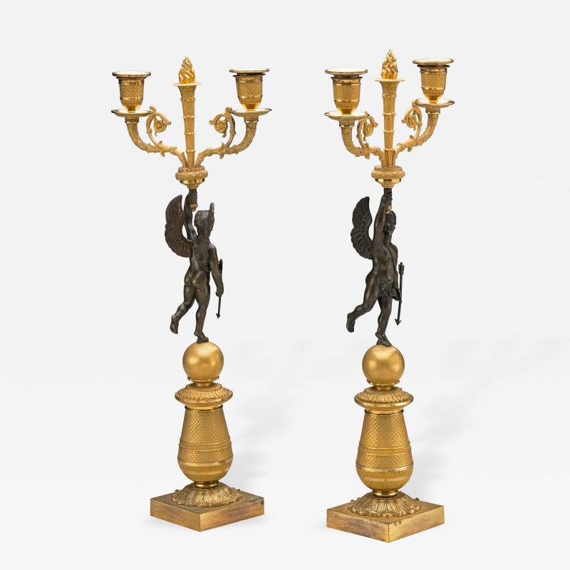Pair of Restauration Gilt Bronze Candelabra