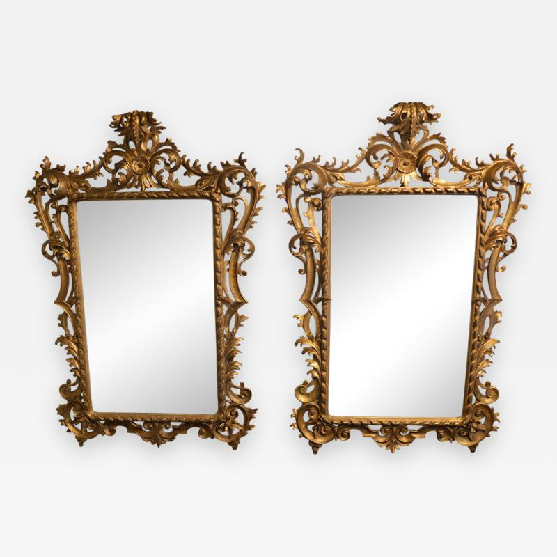 Pair of Rococo Classical Giltwood Mirrors