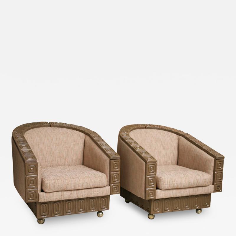 Pair of Romweber Limed Oak Revolving Club Chairs