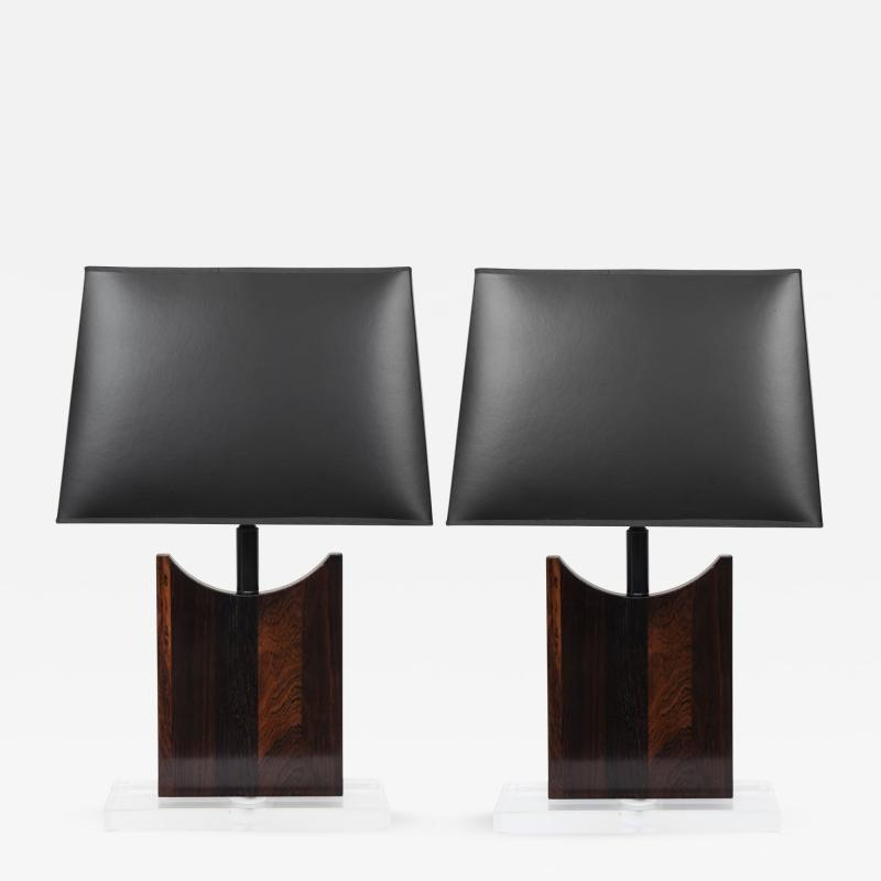 Pair of Rosewood Table Lamps With Lucite Bases