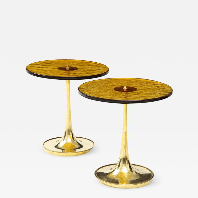 Pair of Round Bronze Murano Glass and Brass Martini or Side Tables Italy 2021
