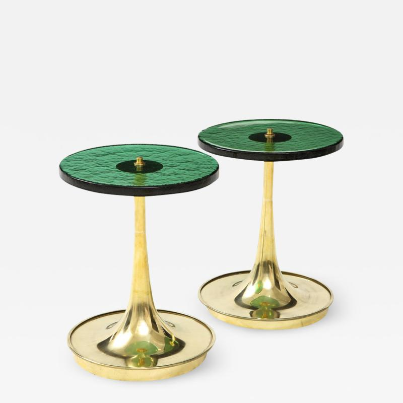 Pair of Round Emerald Green Murano Glass and Brass Martini Tables Italy 2021