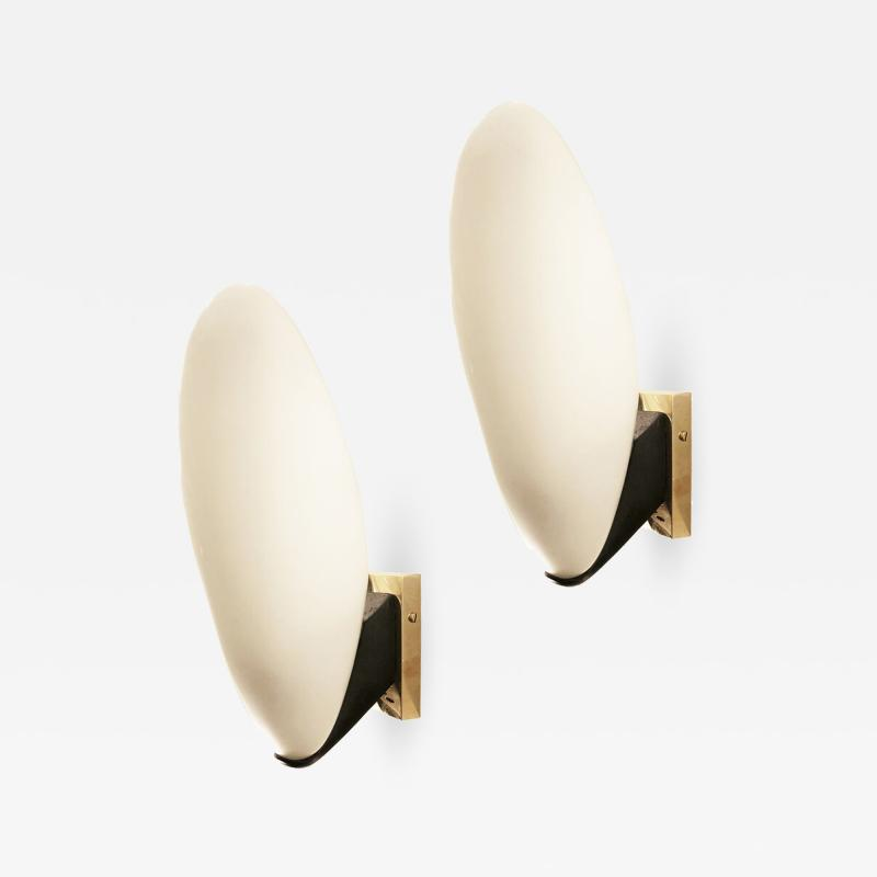 Pair of Rounded Italian Mid Century Sconces