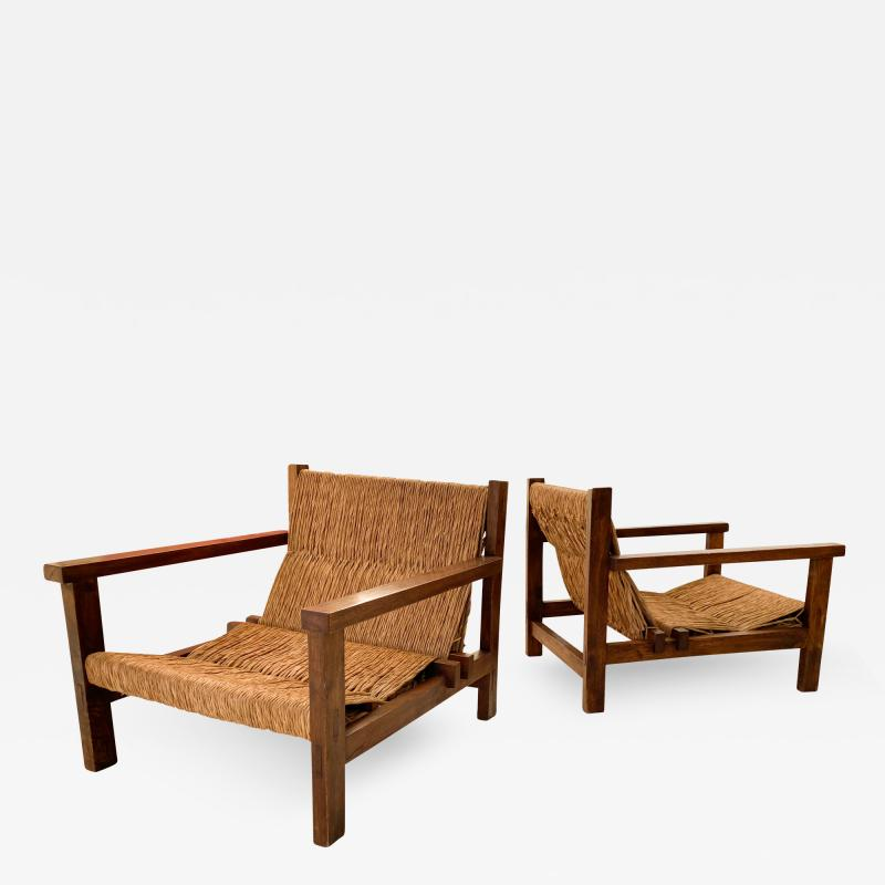 Pair of Rustic Armchairs circa 1970 Spain