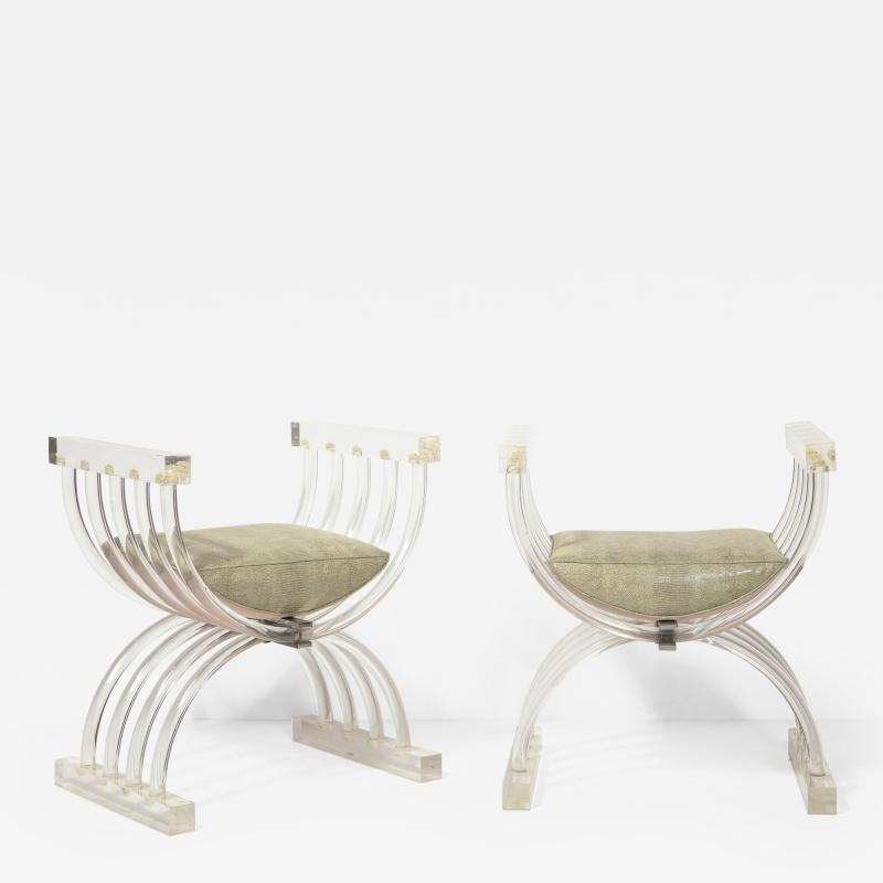 Pair of Savonarola Form Lucite Benches