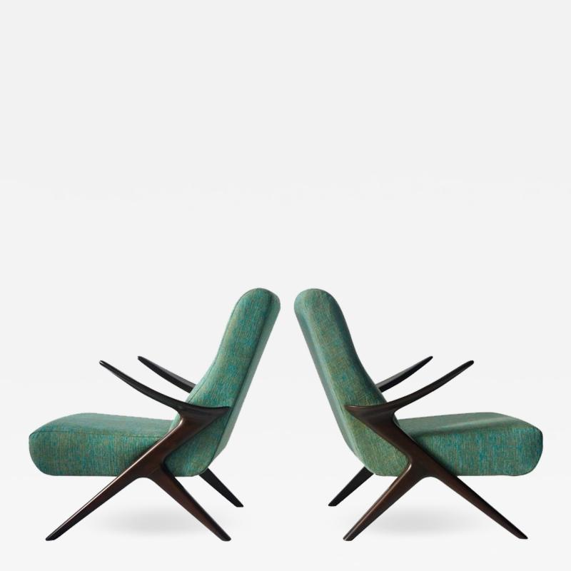 Pair of Sculptural Danish Lounge Chairs