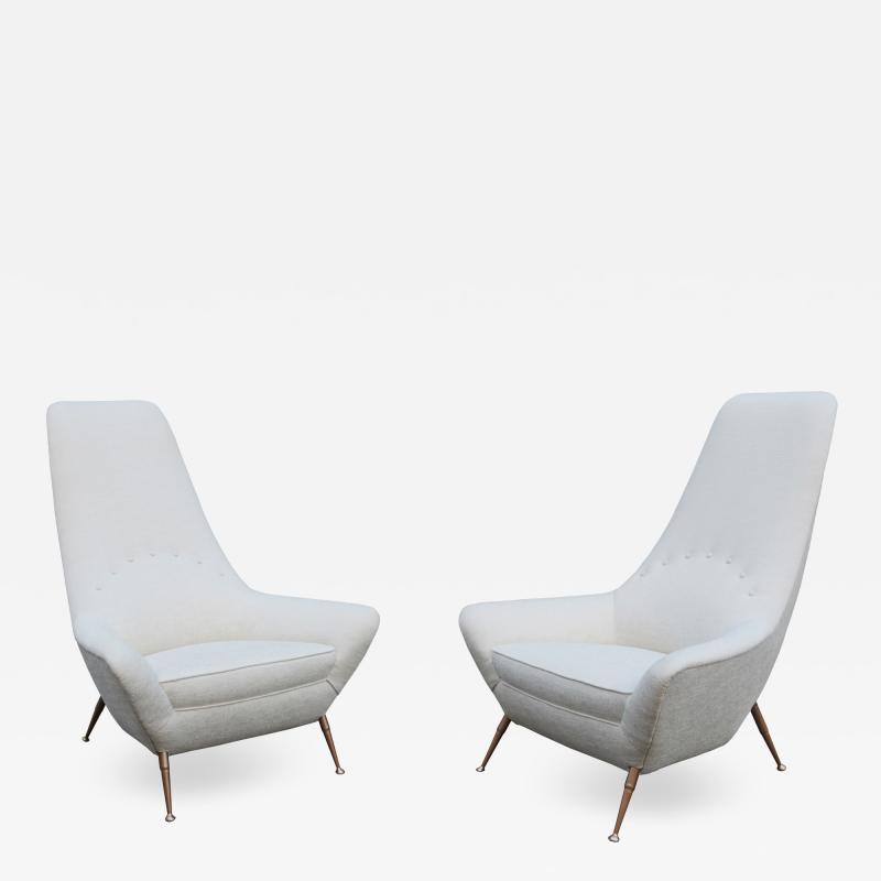 Pair of Sculptural Italian Tall Back Armchairs